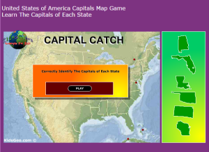 Capital Catch Game at Kids Geo.