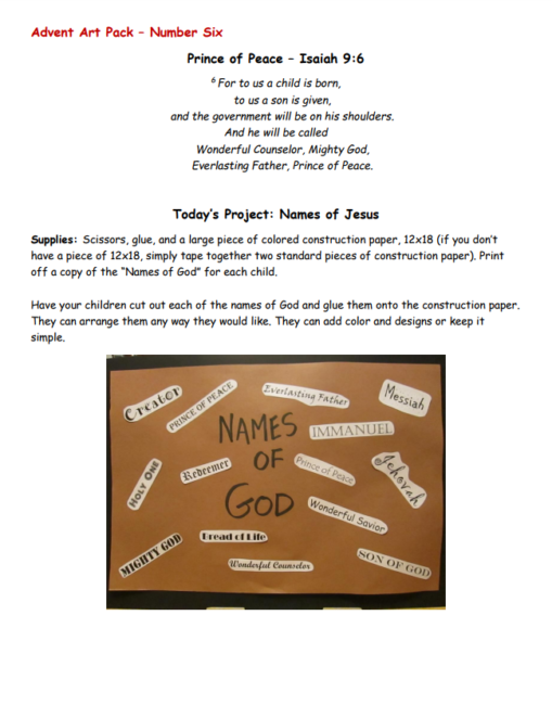 Art curriculum weiser academy however there were a couple of projects in this section that i really liked such as lesson 6 where the kids learn the names of god and create a word fandeluxe Choice Image